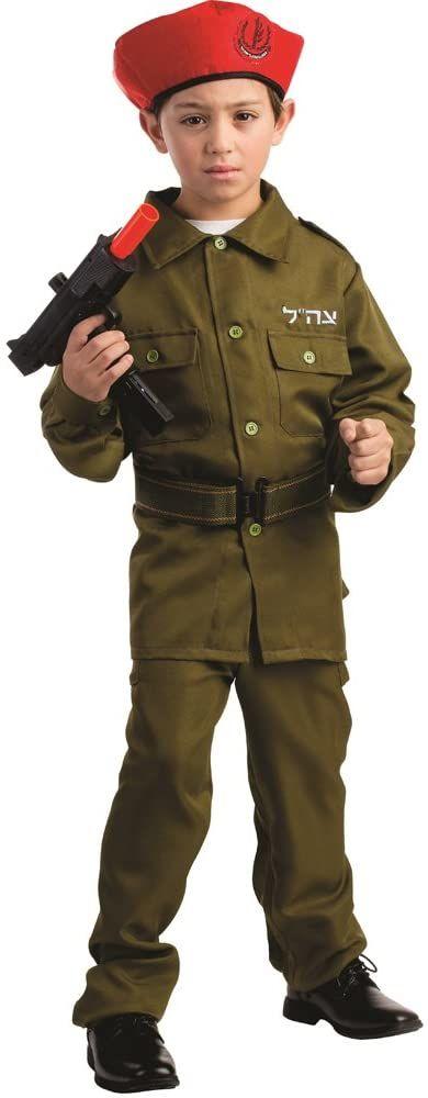 Dress Up America 782-S izraelski kostium żołnierza dla chłopców, zielony, 4-6 lat (talia: 71-76, Wysokość: 99-114 cm)