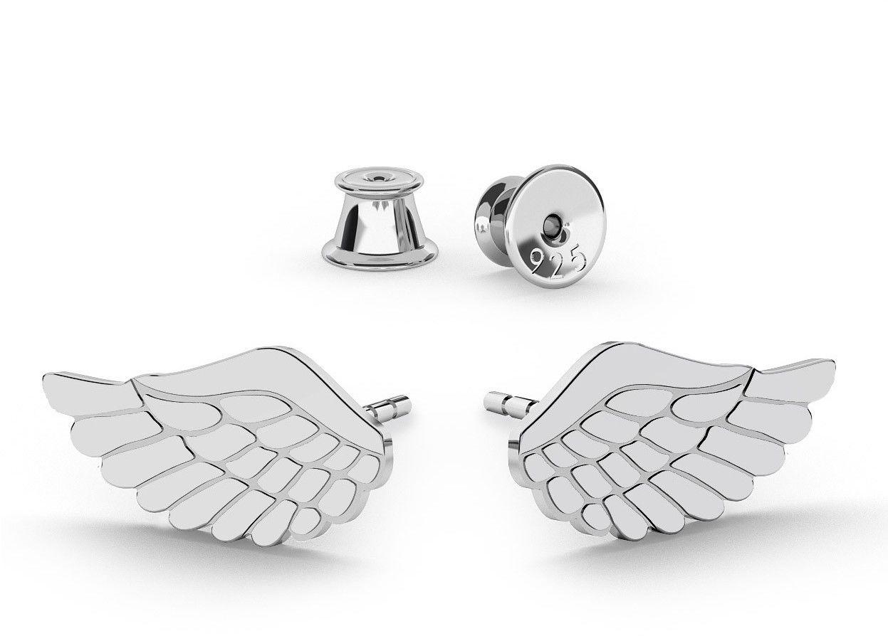 Srebrne kolczyki skrzydła anioła, srebro 925 : Srebro - kolor pokrycia - Pokrycie platyną