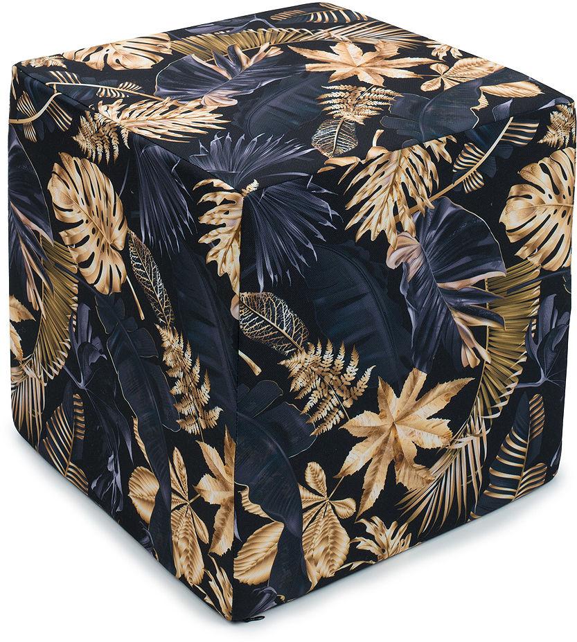 MAMO-TATO Pufa kostka kwadratowa 40x40 Liście na czarnym