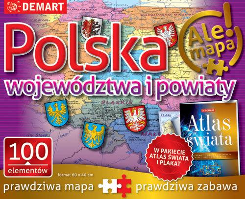 PUZZLE 100 POLSKA WOJEWÓDZTWA I POWIATY + ATLAS