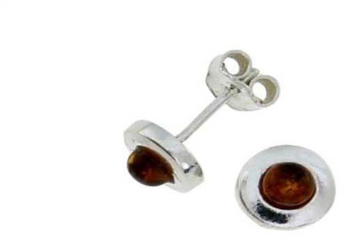 Srebrne kolczyki 925 okrągłe z bursztynem 1,75g