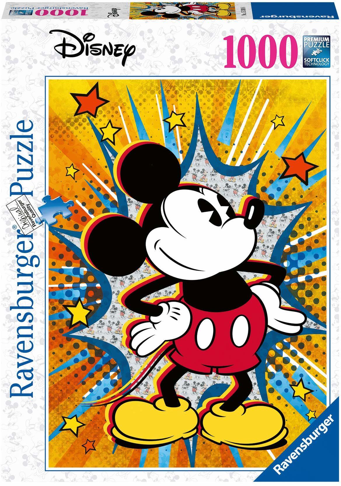 Ravensburger Puzzle 15391 Ravensburger Myszka Miki Retro 1000 Elementów Puzzle Dla Dorosłych (15391) Unikalne Elementy, Technologia Softclick - Klocki Pasują Idealnie