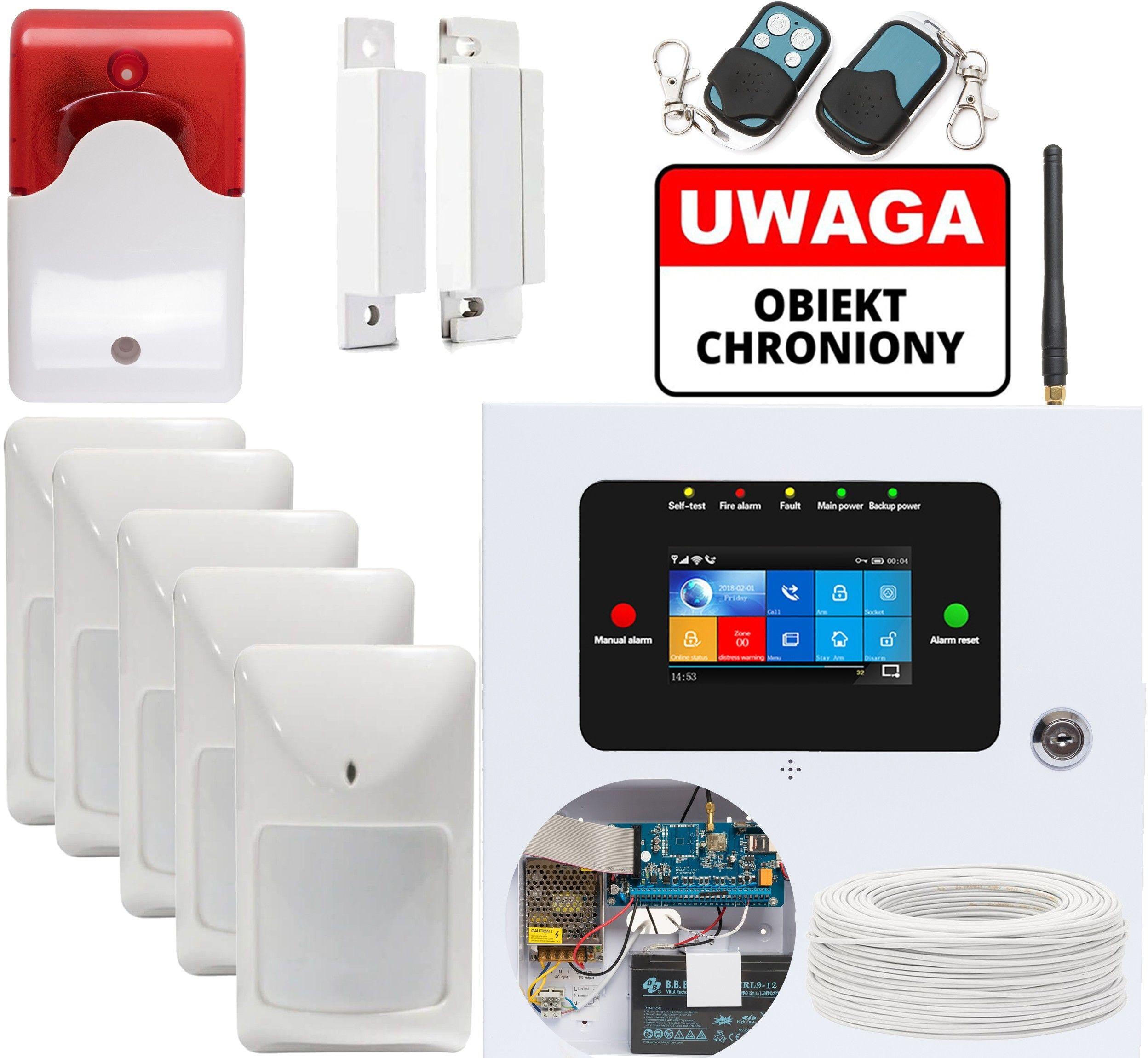 Alarm GSM WIFI SL-119 z 5 czujkami przewodowymi PIR