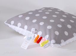 MAMO-TATO Poduszka Minky dwustronna 30x40 Grochy szare / biały