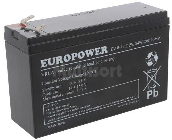 Akumulator kwasowo-ołowiowy EUROPOWER 12V 5,5Ah AGM bezobsługowy