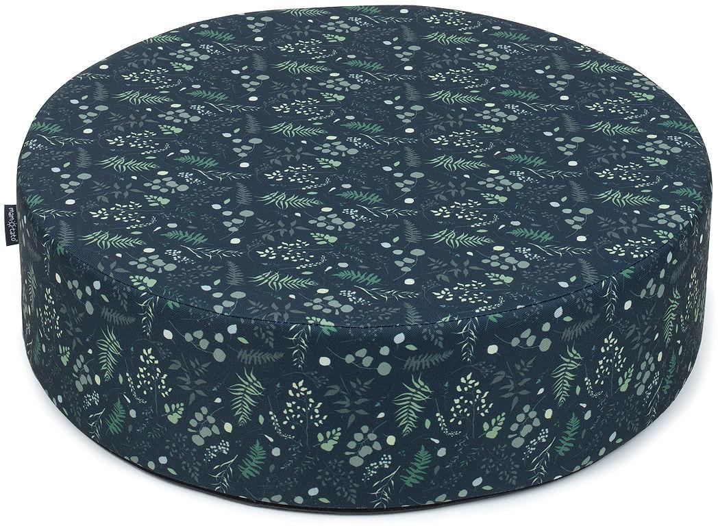 MAMO-TATO Pufa poduszka siedzisko fi 50x14cm Listeczki zielone