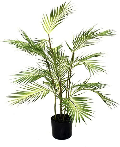 GreenBrokers Sztuczna palma 90 cm w czarnym plastikowym doniczce, zielona, 90