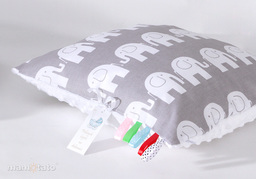 MAMO-TATO Poduszka Minky dwustronna 30x40 Słoń szary / biały