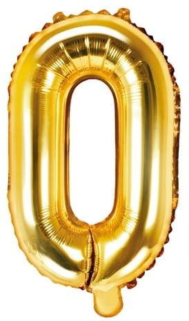 Balon foliowy w kształcie litery O, złoty