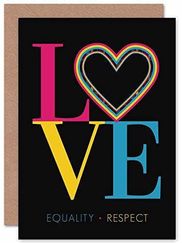 """Wee Blue Coo Kartka z życzeniami z napisem """"Who Cares Scotland Love Equality Respect"""", z kopertą wewnątrz wewnątrz, jakość premium"""
