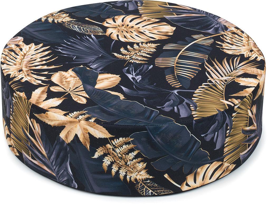 MAMO-TATO Pufa poduszka siedzisko fi 50x14cm Liście na czarnym