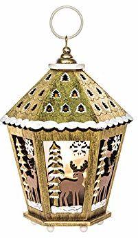EUROCINSA Drewniana latarnia z oświetleniem (bez baterii) z motywami świątecznymi złota 12 x 17 cm 4 szt, złoty/biały, jeden rozmiar