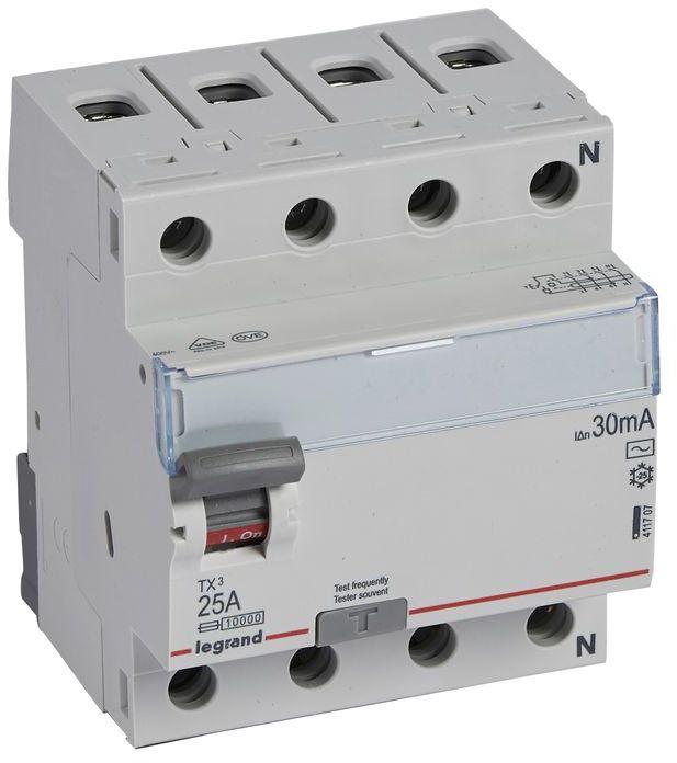 Wyłącznik różnicowoprądowy 4P 25A 0,03A typ AC P304 TX3 411707