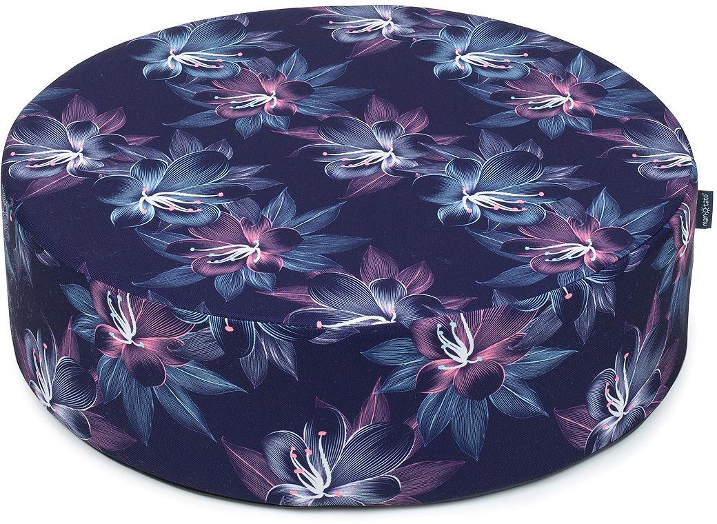 MAMO-TATO Pufa poduszka siedzisko fi 50x14cm Kwiaty pasiaste