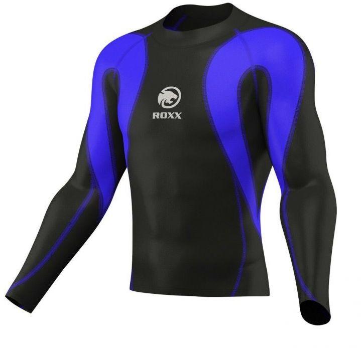 ROXX 20795 Męska koszulka kompresyjna z dł. rękawem czarno-niebieska Rozmiar: L,rox20795blue