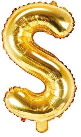 Balon foliowy w kształcie litery S, złoty
