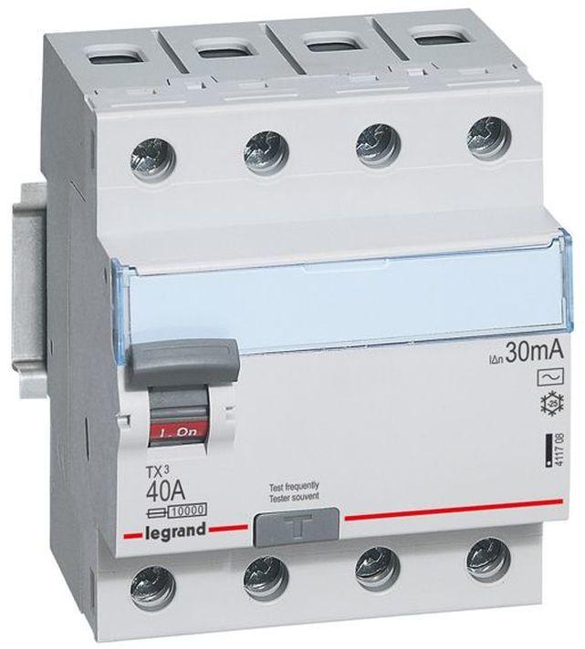 Wyłącznik różnicowoprądowy 4P 40A 0,03A typ AC P304 TX3 411708