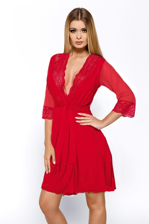 Cienki szlafrok damski z wiskozy Hamana Dantelle czerwony