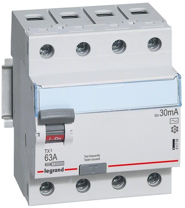 Wyłącznik różnicowoprądowy 4P 63A 0,03A typ AC P304 TX3 411709