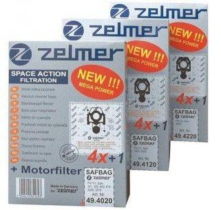Worki syntetyczne Zelmer ZVCA100B do odkurzacza i odkurzacza piorącego 4szt + mikrofiltr Zelmer