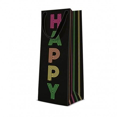 Torebka prezentowa na butelkę Neonowe Happy Birthday