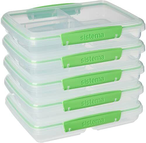 Sistema To Go Multi Split pojemniki do przygotowywania posiłków i żywności z przegrodami i klipsami 820 ml bez BPA 5 pojemników do przechowywania żywności