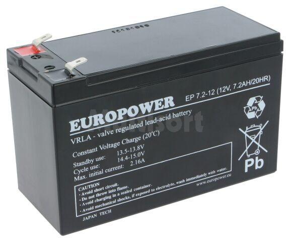 Akumulator kwasowo-ołowiowy EUROPOWER 12V 7,2Ah AGM 151x65x98mm