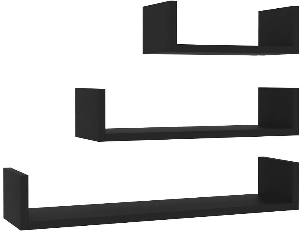 Zestaw czarnych półek ściennych - Baffic 3X