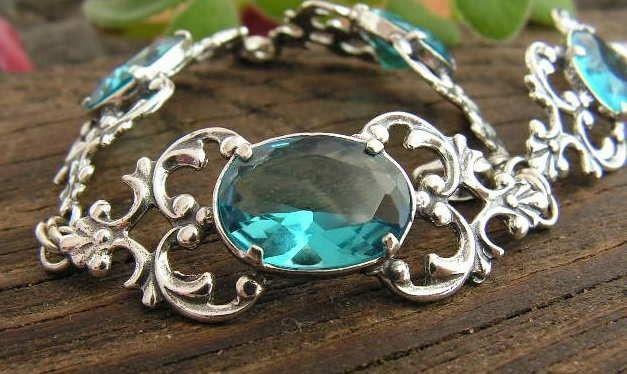 Nemi - srebrna bransoletka z akwamarynem