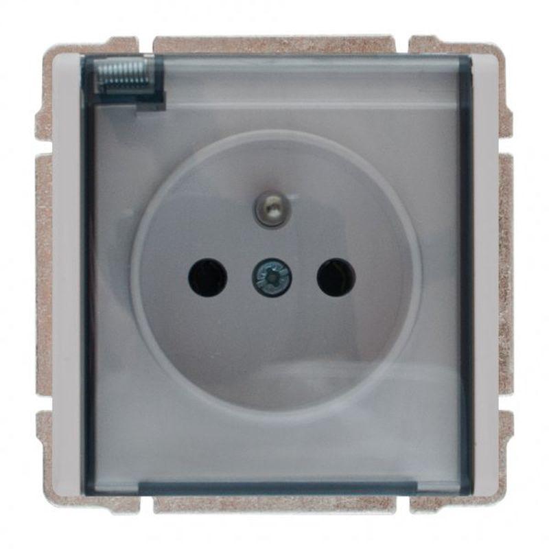 KOS66 Gniazdo bryzgoszczelne z/u IP44 z przesłonami klapka dymna aluminium 664040