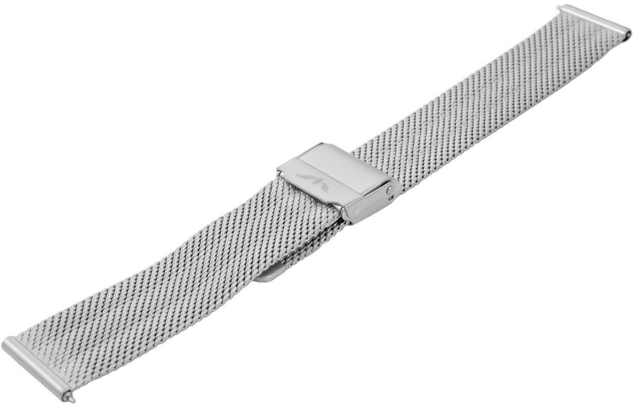 Bransoleta stalowa do zegarka 16 mm Bisset BM-103/16 Silver Mat - srebrny matowy 16 mm