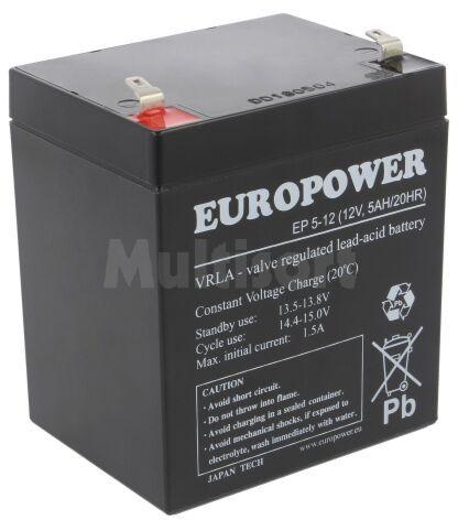 Akumulator kwasowo-ołowiowy EUROPOWER 12V 5Ah AGM 90x70x106mm