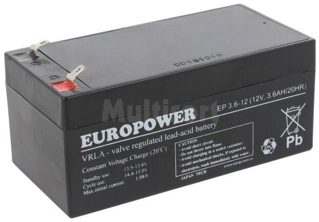 Akumulator kwasowo-ołowiowy EUROPOWER 12V 3,6Ah AGM 134x67x66mm