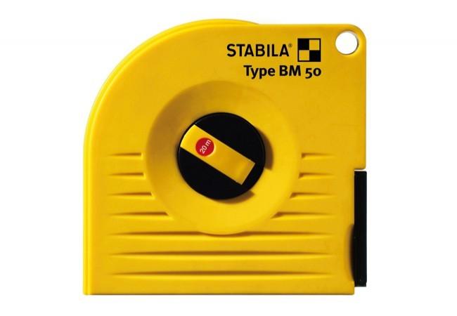 Taśma STABILA BM 50 W/20 miernicza stalowa, biała zwijana długa