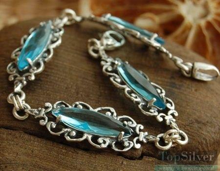 Lauren - srebrna bransoletka z akwamarynem