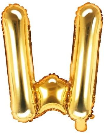 Balon foliowy w kształcie litery W, złoty