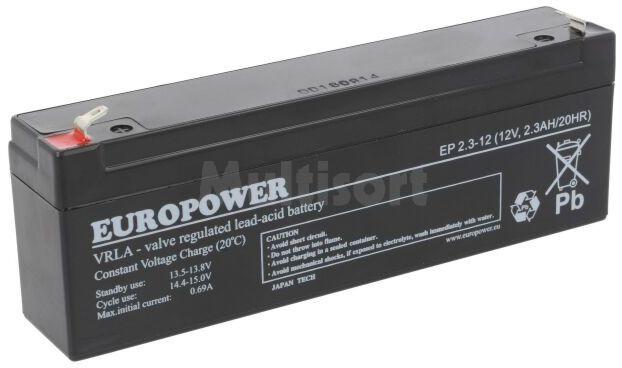Akumulator kwasowo-ołowiowy EUROPOWER 12V 2,3Ah AGM 178x34x65mm