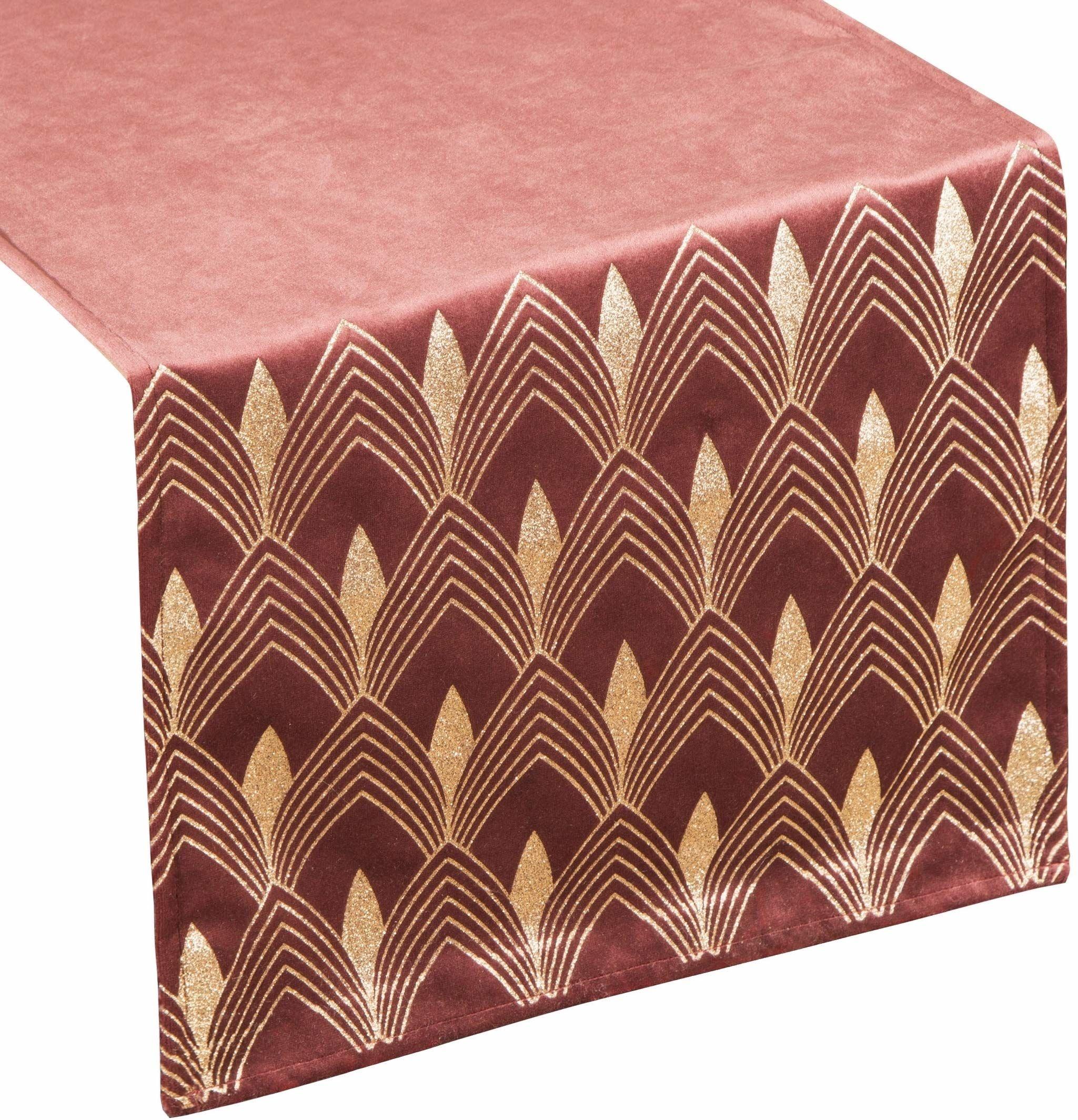 Eurofirany obrus na stół, aksamitny bieżnik na stół, geometryczny wzór, obrus Velvet szlachetny elegancki 1 sztuka, bordowy, 40 x 140 cm