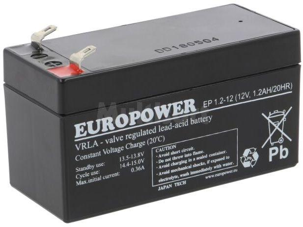 Akumulator kwasowo-ołowiowy EUROPOWER 12V 1,2Ah AGM 97x45x59mm