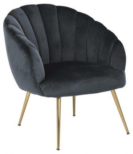 Fotel Daniella ciemnoszary złote nogi