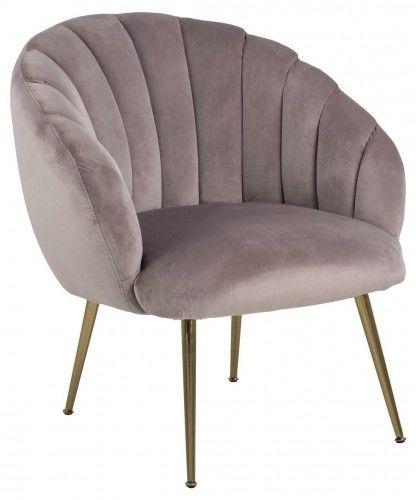 Fotel Daniella pudrowy róż złote nogi