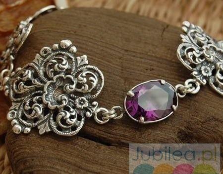 Akama - srebrna bransoleta z ametystem