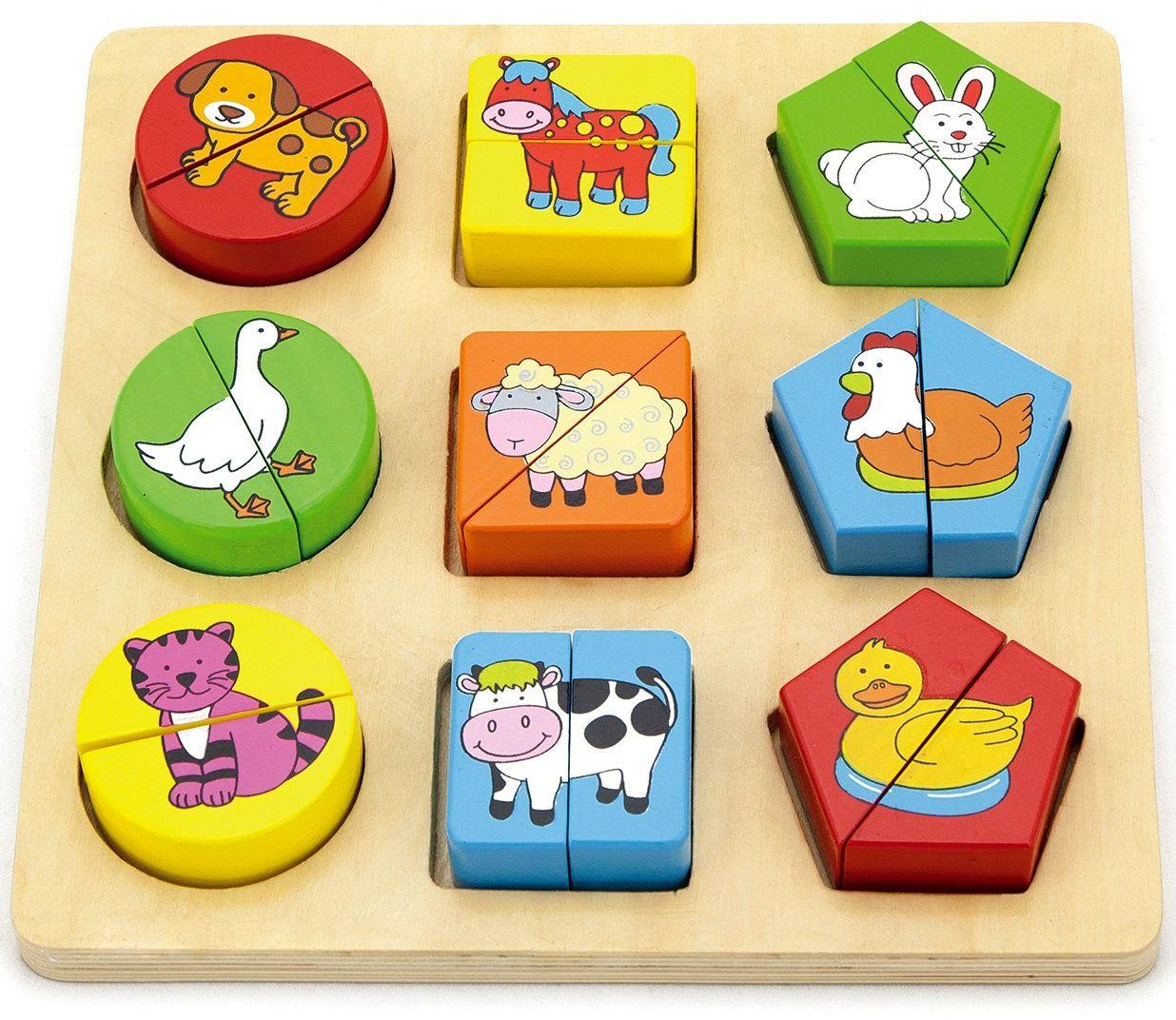 Viga Toys  drewniane puzzle  zwierzęta gospodarskie