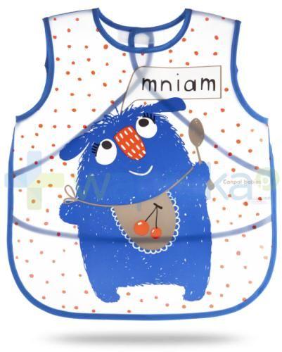 Canpol Monsters fartuszek zmywalny miękki niebieski dla dzieci 12m+ 1 sztuka [9/237_blu]