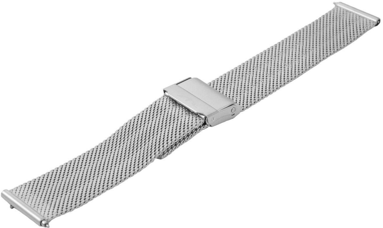 Bransoleta stalowa do zegarka 18 mm Bisset BM-103/18 Silver Mat - srebrny matowy 18 mm