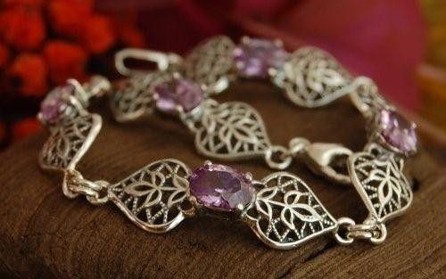 Bogna - srebrna bransoletka z ametystem