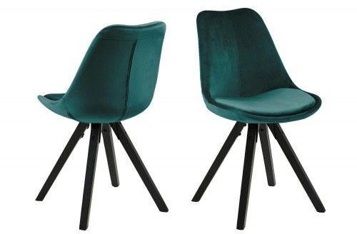 Krzesło Dima aksamitne morska zieleń nogi czarne Actona