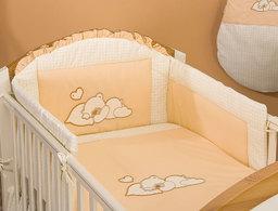 MAMO-TATO pościel 3-el Śpiący miś brzoskwiniowy do łóżeczka 70x140cm