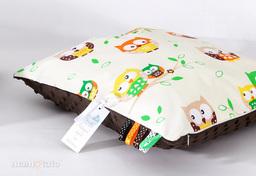 MAMO-TATO Poduszka Minky dwustronna 40x40 Sówki kremowe / brąz