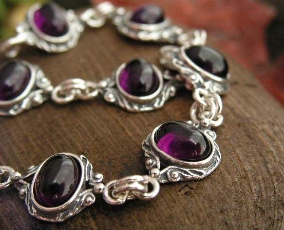 Neva - srebrna bransoletka z ametystem